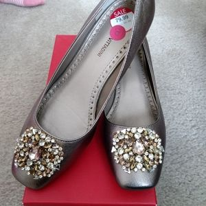 Adrienne Vittadini wedge jeweled dress shoes